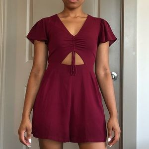 Express Flutter Sleeve Cutout Ruched Romper